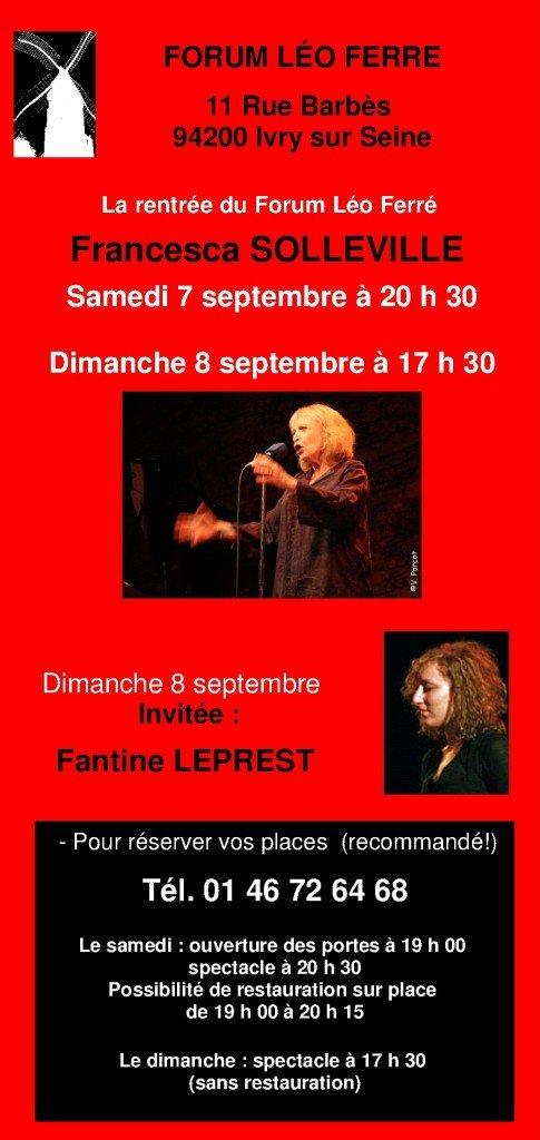 la rentrée du Forum Léo Ferré avec Francesca Solleville et son invitée Fantine Leprest dans articles programme1